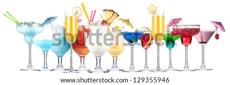 alcoholic cocktail set isolated on white background