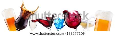 alcoholic cocktail set  splash - cocktail, cola, beer, wine,champagne