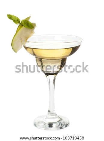alcoholic cocktail with a slice of apple on a glass and a mint leaf