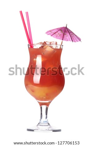 alcoholic cocktail  with umbrella and tube isolated on white background