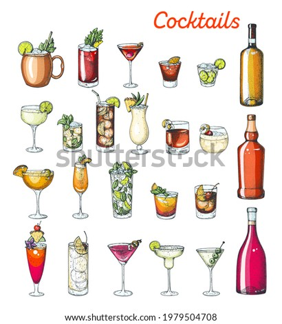 Alcoholic cocktails hand drawn illustration. Colorful set. Cognac, brandy, vodka, tequila, whiskey, champagne, wine, margarita cocktails. Bottle and glass.
