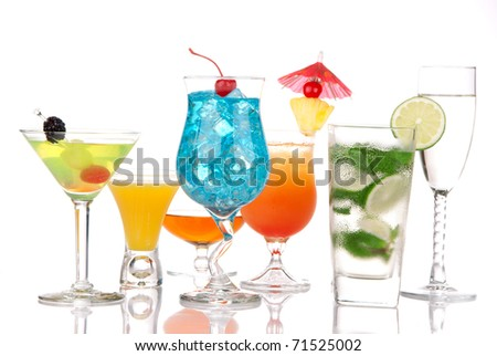 Alcoholic Cocktails. Many drinks beverages Blue lagoon, mojito; tropical  Martini, tequila sunrise, margarita, champagne and cognac glass, cocktail umbrella cherry, lime, pineapple on white background