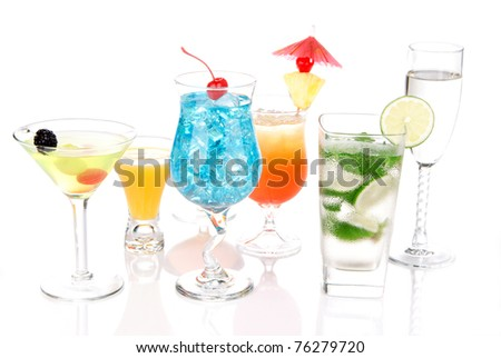 Alcoholic Cocktails. Many drinks beverages Blue lagoon, mojito; tropical  Martini, tequila sunrise, margarita, champagne and cognac glass, cocktail umbrella, cherry, lime on white background