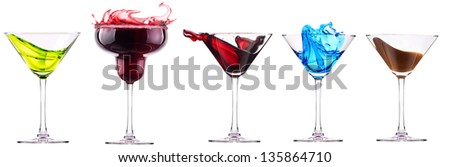 alcoholic  cocktails set - cosmopolitan, Blue Curacao, Chocolate cocktail,martini,margarita,