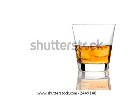 Alcoholic drink against white background