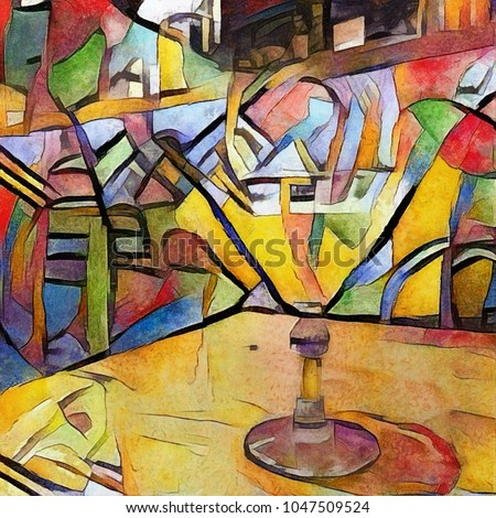 Alcoholic drinks and cocktails in the style of cubism. Bar theme for cafes and restaurants. Executed in oil on canvas with elements of acrylic painting.