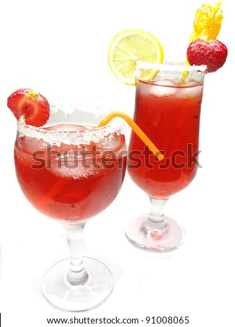 alcoholic fruit red cocktail drinks with ice and strawberry