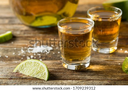 Alcoholic Reposado Tequila Shots with Lime and Salt Foto stock ©