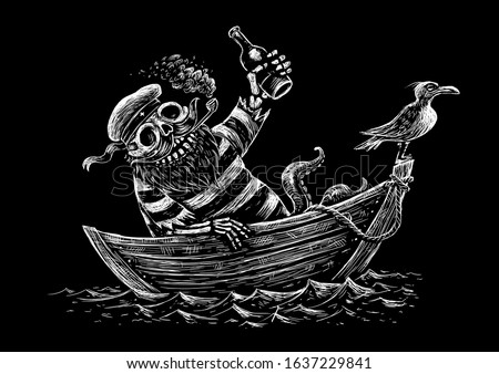 Alcoholic sea voyage. Funny skeleton sailor sailing on a boat by the sea. Black and white comic illustration.