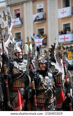 ALCOY, SPAIN - MAY 14: Christian legion marching in the largest annual Moors and Christians parade commemorating battles during the 8-15th century between Muslims and Christians. Alcoy May 14, 2011  #218481829