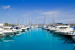 Alcudia Port Bonaire Marina in North Majorca in Mallorca Balearic island of Spain