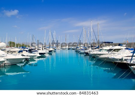 Alcudia Port Bonaire Marina in North Majorca in Mallorca Balearic island of Spain