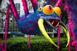 alebrije spider in reforma avenue due to day of the dead celebration in mexico city