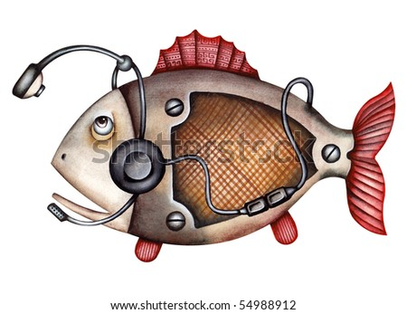 Alegory of a fish during a telephone conversation