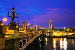 Aleksander III bridge in Paris at sunrise