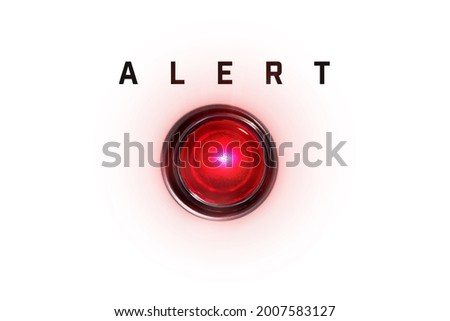 Alert lamp Isolated on pure white with red glow. Red alert lamp. Will lay cleanly on white background without any image borders.