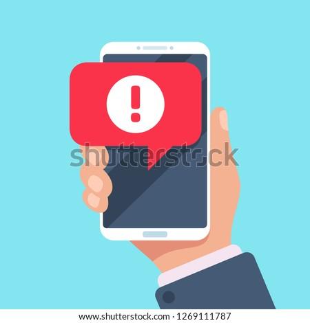 Alert message mobile notification. Danger error alerts, smartphone virus problem or insecure messaging spam problems notifications on phone screen, spammer alertness flat  illustration