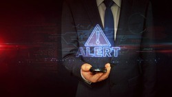 Alert warning concept with exclamation symbol, danger, cyber attack and computer security breach icon. Futuristic abstract 3d rendering illustration.