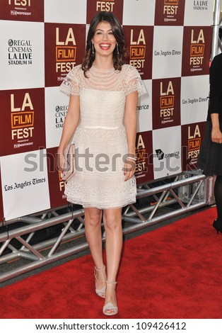 "Alessandra Mastronardi at the LA Film Festival premiere of her movie ""To Rome With Love"" at the Regal Cinemas LA Live. June 15, 2012  Los Angeles, CA Picture: Paul Smith / Featureflash - stock photo"