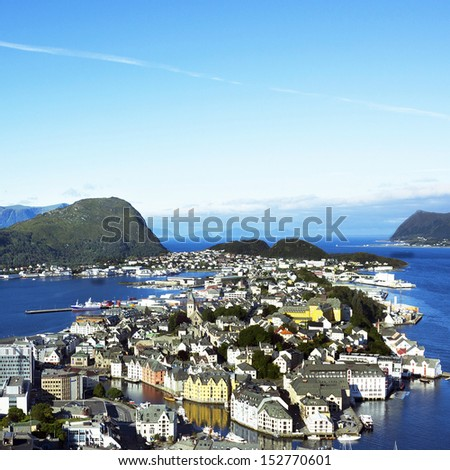 Alesund, Norway. Panoramic fjord view.