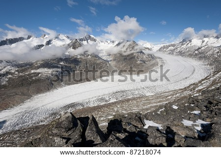 Aletsch Glacier - Largest european Glacier, Bernese Alps, Switzerland