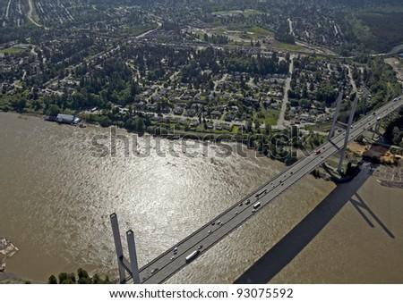 Alex Fraser Bridge - aerial view of the Fraser River, Surrey and Delta