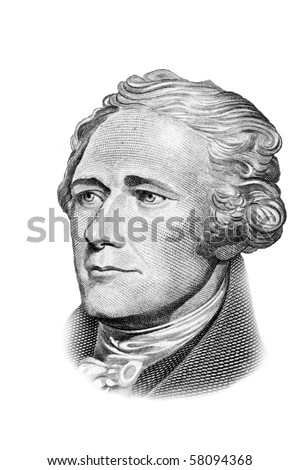 Alexander Hamilton portrait on ten US dollars banknote. Isolated on white. Black and white picture.