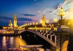 Alexander III bridge in Paris at sunset