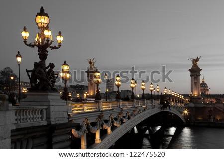 Alexander III bridge, Paris, France Photo stock ©