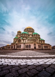 Alexander Nevsky Cathedral and crosswalk in Sofia, Bulgaria