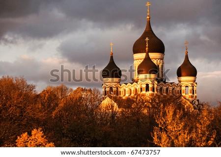 Alexander Nevsky Cathedral in Tallinn, Estonia on a stormy evening