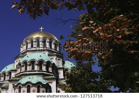 Alexander Nevsky church in Sofia,Bulgaria,with leaves frame