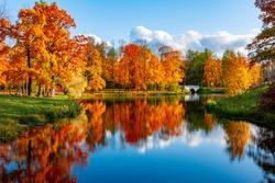 Alexander park in autumn, Pushkin (Tsarskoe Selo), St. Petersburg, Russia
