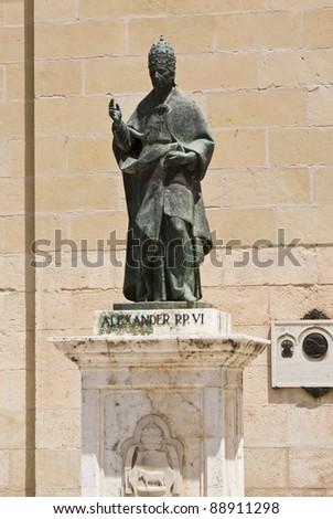 Alexander VI pope statue in Xativa, Valencia, Spain - stock photo