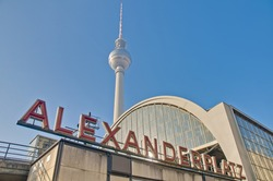 Alexanderplatz is a large public square and transport hub in the central Mitte district of Berlin, near the Fernsehturm.