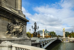 Alexandra III bridge on the River Seine and the Grand Palace in the background, Paris, France