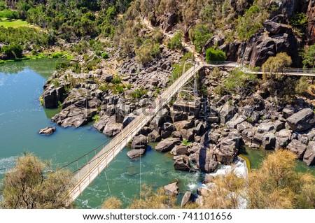 Alexandra Suspension bridge at Cataract Gorge's First Basin - Launceston, Tasmania, Australia