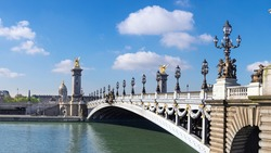 Alexandre Bridge in Paris on a bright sunny morning in Spring, panorama image