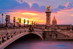Alexandre III Bridge at amazing sunset - Paris, France