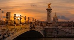 Alexandre III Bridge at sunset -Paris, France
