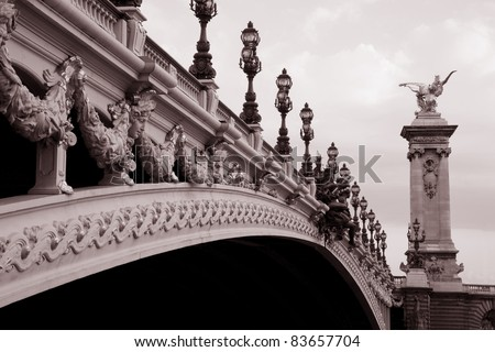Alexandre III Bridge in Black and White Sepia Tone in Paris, France Europe