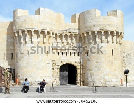 ALEXANDRIA, EGYPT - FEBRUARY 28: Alexandria fortress on FEBRUARY 28, 2010 in Alexandria, Egypt. Old fortress Citadel at sunny day in Alexandria, Egypt.