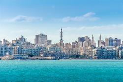 Alexandria, Egypt - 21 February 2018: View of Alexandria harbor, buildings