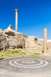Alexandria, Egypt. Pompeys Pillar and ancient sphinx, vertical photo. This Roman triumphal column was built in 297 AD