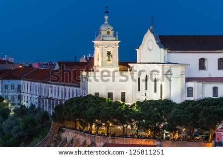 Alfama district of Lisbon, one of the oldest in the capital of Portugal, with the building of Convent of the Grace