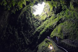 Algar do Carvao - Fern Covered Lave Tube / Cave with Stairs on Terceira Island In the Azores