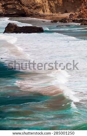 Algarve, Portugal, Europe.  Atlantic coast.  ocean waves of Atlantic Ocean