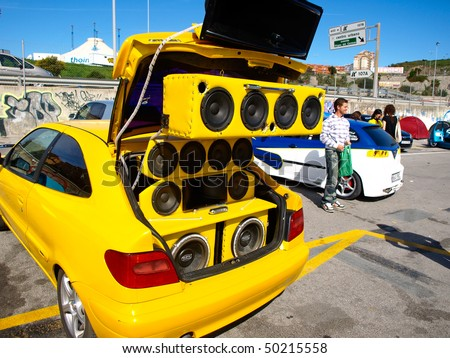 ALGECIRAS, SPAIN - APRIL 04: Car Tuning show on April 04, 2010 in Algeciras, Spain. Fans of tuned cars present extreme bass speakers - stock photo