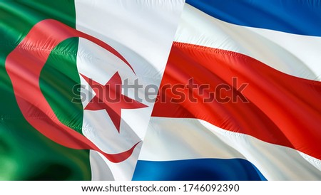 Algeria and Costa Rica flags. 3D Waving flag design. Algeria Costa Rica flag, picture, wallpaper. Algeria vs Costa Rica image,3D rendering. Algeria Costa Rica relations war alliance concept.Conflict