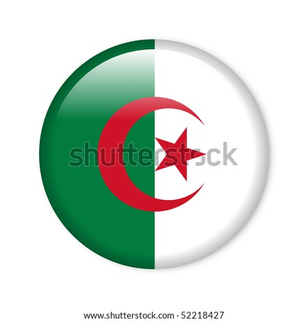 Algeria - glossy button with flag